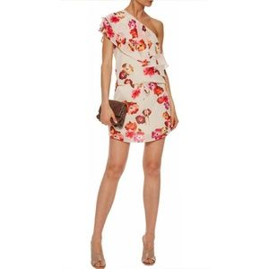 Haute Hippie One-shoulder ruffled floral dress